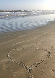 beach with heart